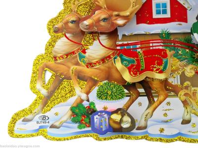 New stereo deer cart CHRISTMAS Stickers BJ749