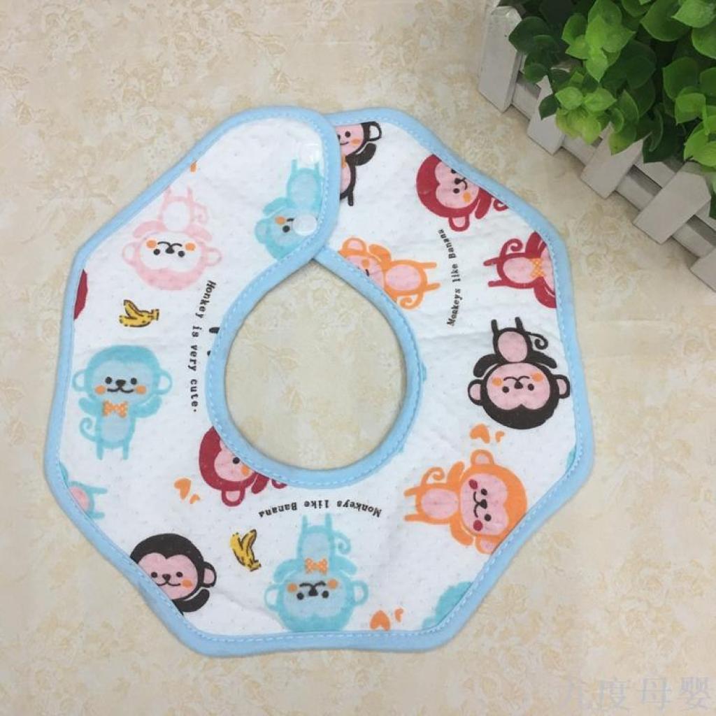 360度旋转八角圆形宝宝围嘴婴儿口水巾