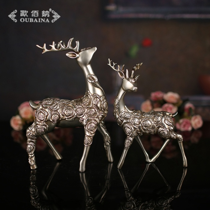 欧式树脂双梅花鹿动物树脂摆件室内家居装饰创意小礼品