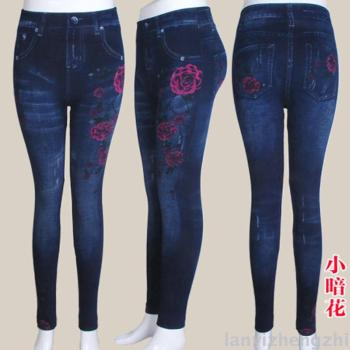 Spring faux denim leggings size printing 180 pounds to wear