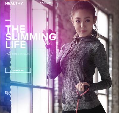 Gym yoga clothes coat female fitness training run fast dry long sleeved sportswear Hoody slim