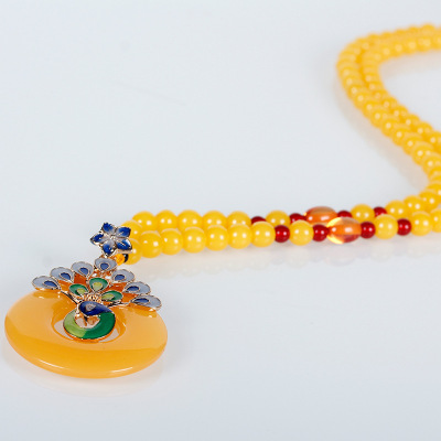 The new all-match imitation wax sweater chain long necklace spread hot oil mosaic