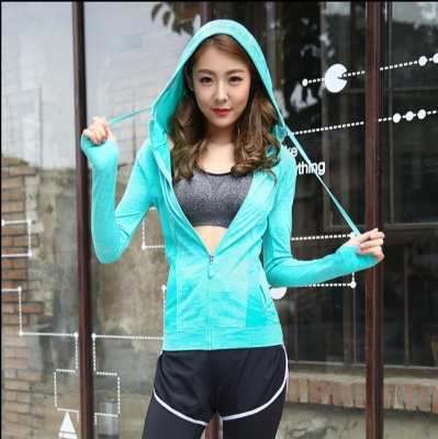 Gym yoga clothes coat female fitness training run fast dry long sleeved sportswear Hoody slim