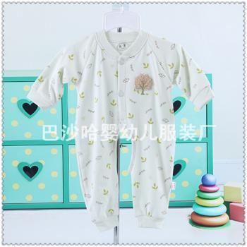 Newborn baby romper cotton long sleeved bill climbing clothes