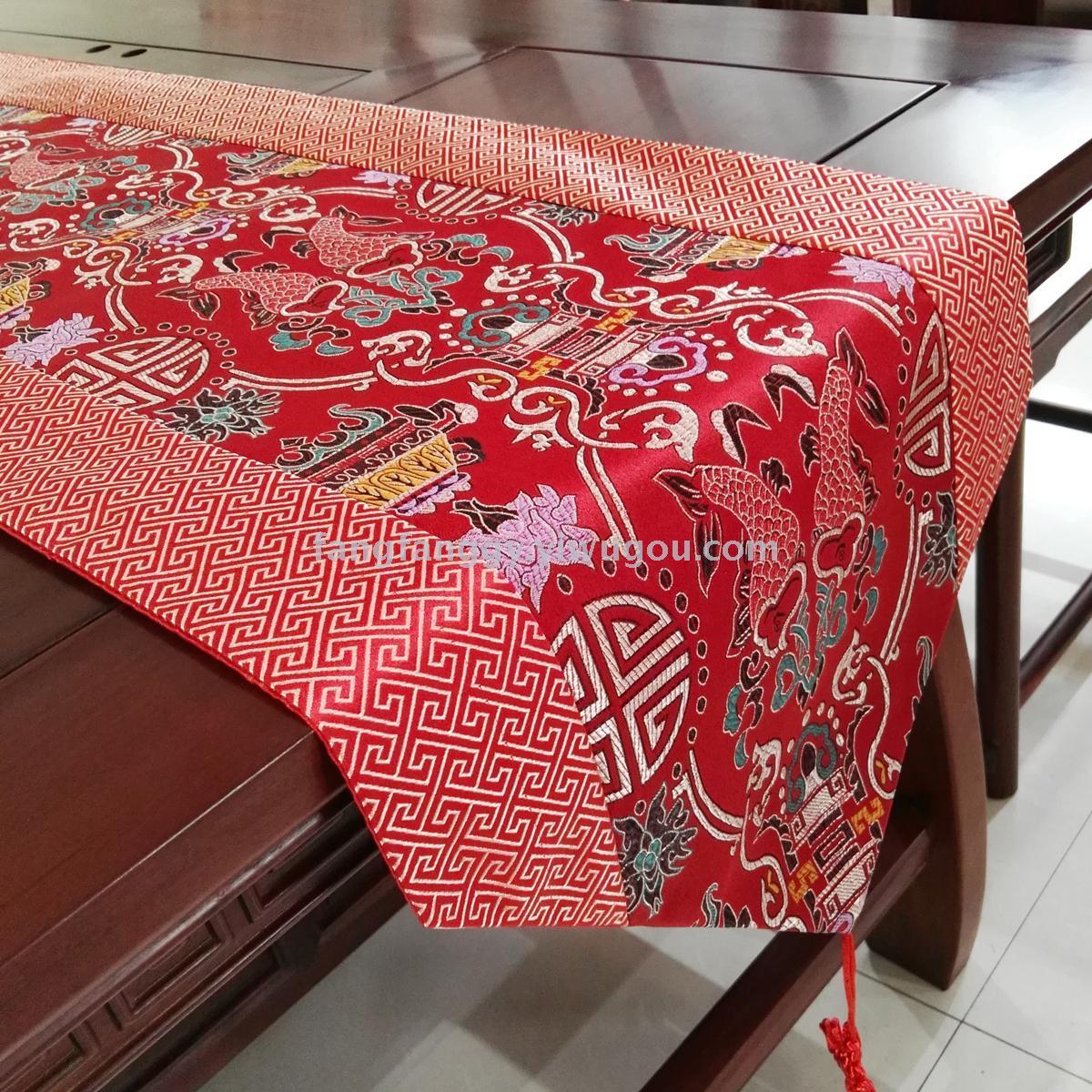 新中式红木餐桌旗中国风古典茶几布艺电视柜长条桌布桌巾鞋柜盖布
