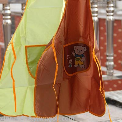 Two yuan apron color printing solid color home kitchen apron anti - fouling hanging neck aprons stall supply department