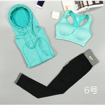 Women Gym Clothing Suit Bra Set 3 Piece Female Long sleeved Sportswear Gym Running Workout Clothes Pants+Bra+Jacket Yoga