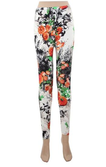 Europe and the United States printed nine points Leggings Women tight feet pants elastic Slim was thin pants