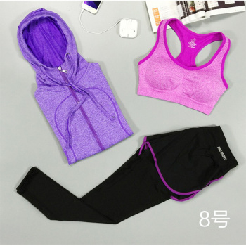 Women Yoga Sport Suit Bra Set 3 Piece Female Long sleeved Sportswear Gym Running Workout Clothes Pants+Bra+Jacket Yoga