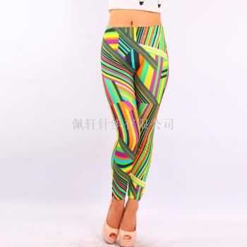 Seamless printed yellow pocket skinny jeans imitation Leggings