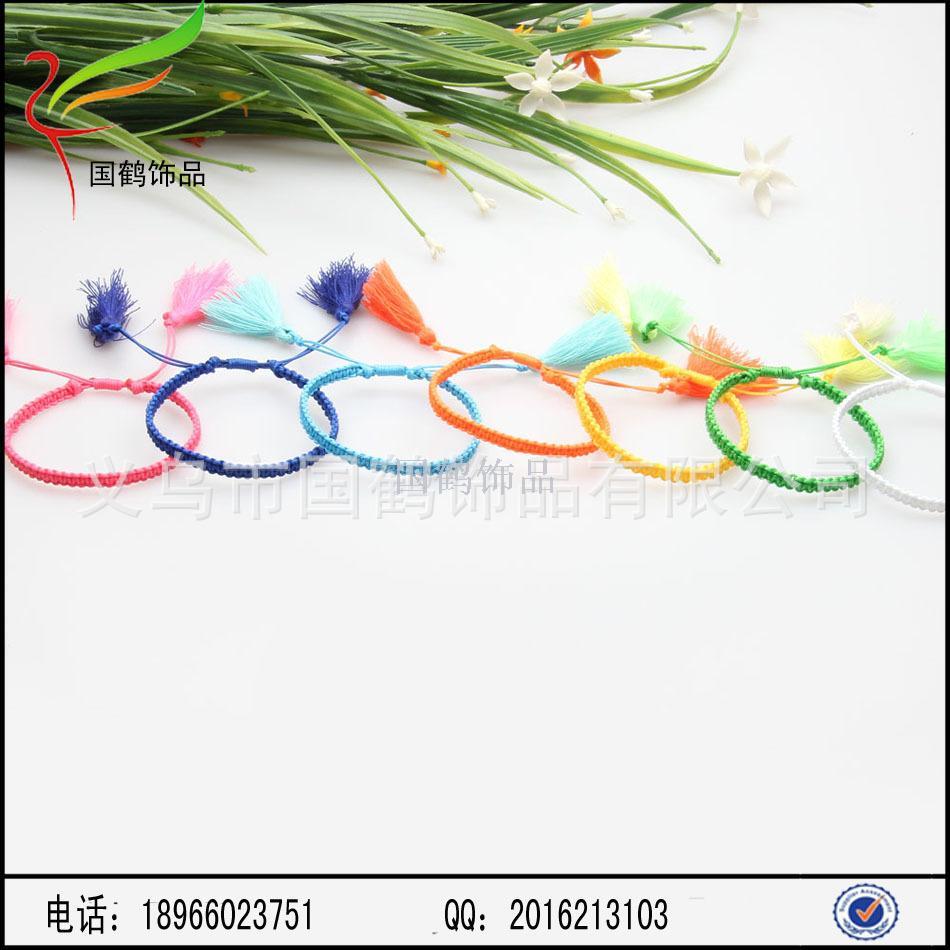 玉线手工编织手链流苏编法