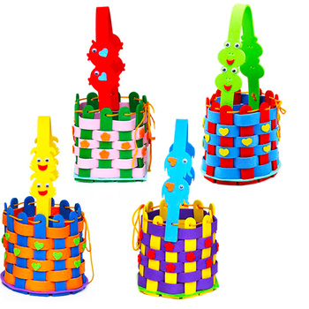 Children EVA hand woven basket paste painting children puzzle jigsaw puzzle