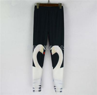 Hot star digital printing wholesale and retail big white sexy pencil pants Leggings
