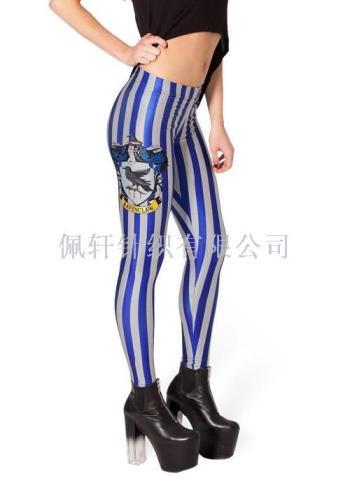 Star digital printing wholesale and retail cartoon blue stripe sexy sexy pencil pants