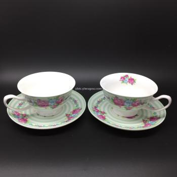 Ceramic cup and saucer gift crafts business gift set two cup wholesale