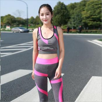 2017 YEL Hot Ladies 2 Pcs Sport Running Cropped Top 3/4 Leggings Set Gym Yoga Pants Vest Gym Trainning Clothing Free