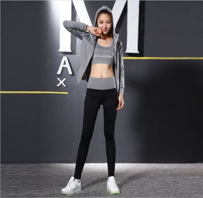 New Korean women's yoga clothes three suit cardigan hooded high waist pants fitness exercise yoga set manufacturers