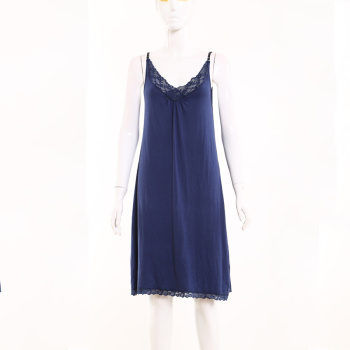 Foreign women women blue low V collar lace decorative harness pajamas skirt tank top