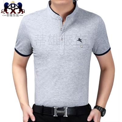 New men's Shirt Short Sleeved cotton Zhongshan collar middle-aged men's T-shirt