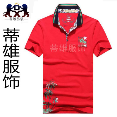 Tichon Mens cotton print T-shirt Lapel shirt fashion summer heat transfer models
