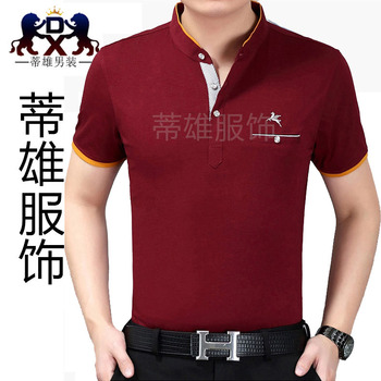New men's Shirt Short Sleeved cotton Zhongshan collar middle-aged men's T-shirt