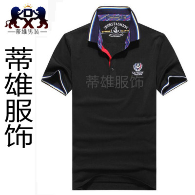 Men's short sleeve t-shirt men's Lapel business casual shirts loose plus mast