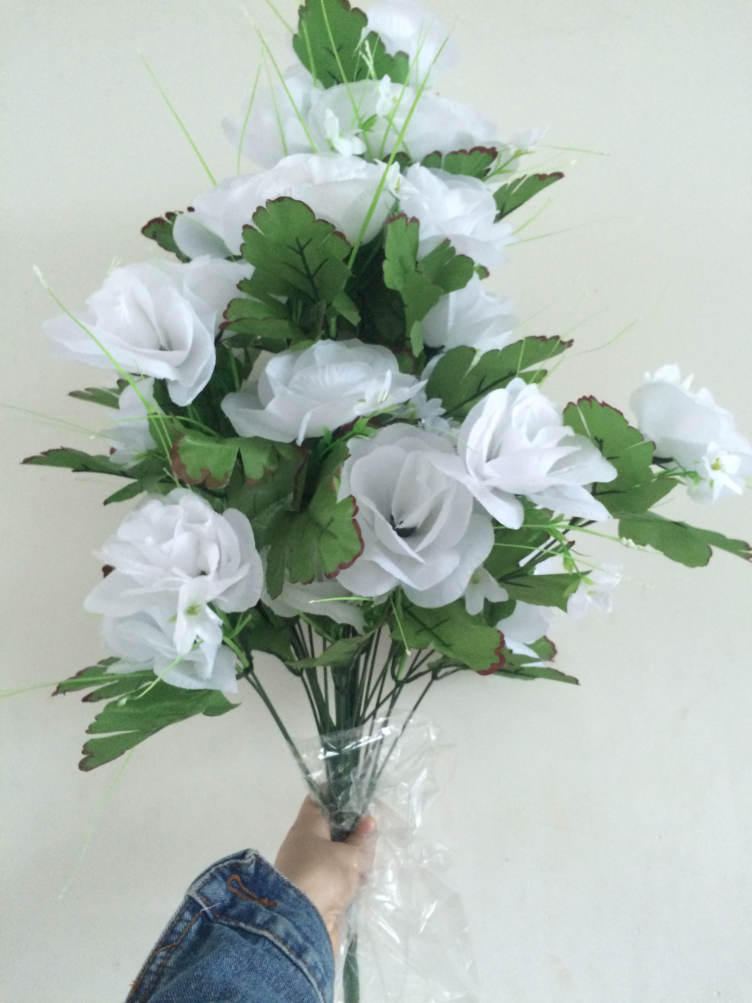 Supply 36 Head Rose Flowers Bush Arrangement Artificial Silk Flower