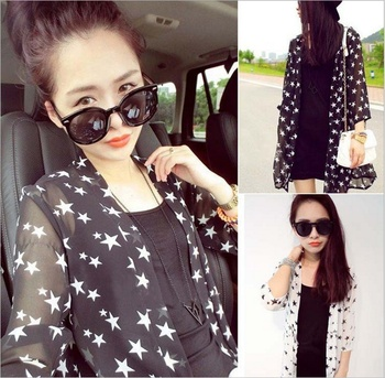 Spring new Korean thin women's clothing chiffon cardigan long jacket female loose in the sleeves sun clothes girl