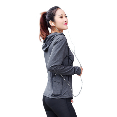 Women's sports running long sleeve cardigan jacket, gym clothes, yoga clothes, quick drying tops