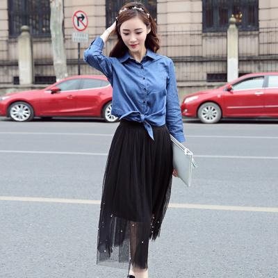 Diamori autumn new women's pearl net yarn skirt wild skirt skirt skirt