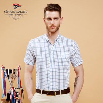 Paul cotton plaid shirt men short sleeve Oxford spinning business casual shirt