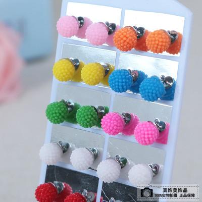 Ear jewelry ball stud earrings cute simple earrings fashion wild ear ear sweet temperament