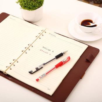得力中性笔学生办公签字笔0.5mm黑红蓝三色水笔12支/盒
