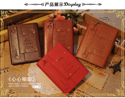 PU leather cover embossed hardcover notepad creative retro cowhide book inner page illustration travel book