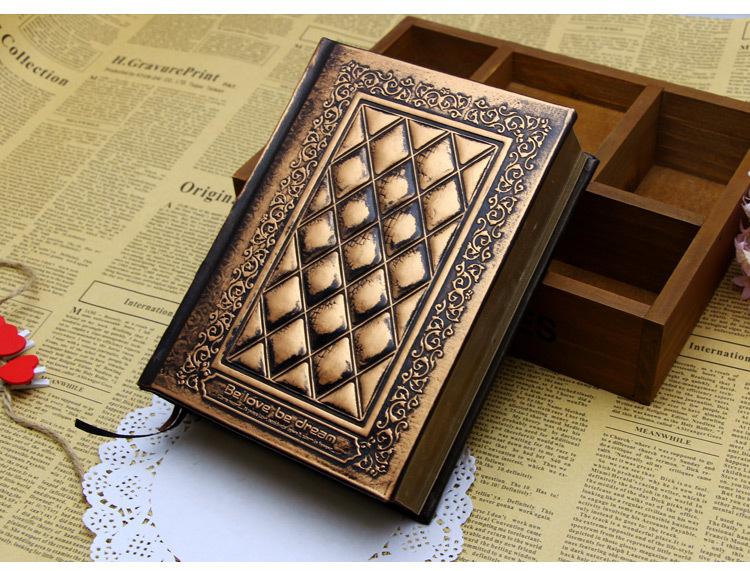 浮雕pu精装笔记本欧式滚金边笔记本子