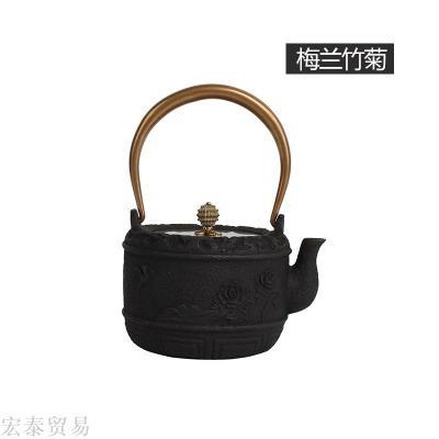 Genuine iron pot Meilan bamboo chrysanthemum cast iron pot Japan southern iron pot Kung Fu tea with cast iron teapot