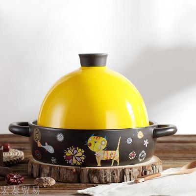Taji pot ceramic casserole open fire high temperature raw stew burning stew pot pot Aberdeen pot