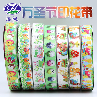 2.5CM Halloween Roman Tam belt printed with holiday gift packaging DIY Holiday Decorative webbing
