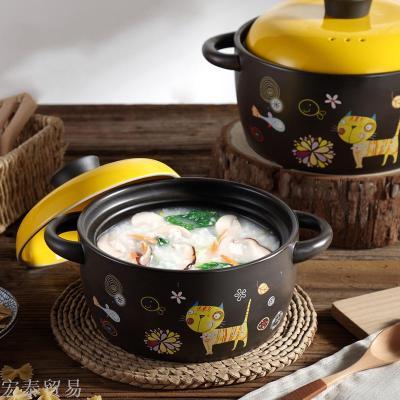 Cartoon casserole open fire high temperature ceramic stew pot stone pot health pot soup pot porridge claypot rice bowl