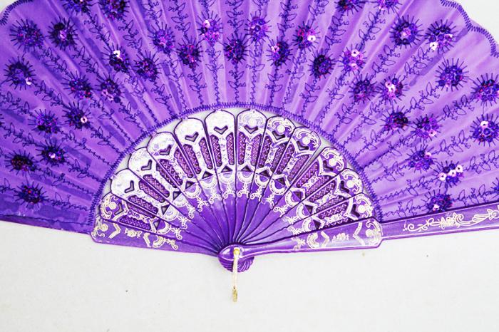 黑杆折扇 中国风彩色亮片孔雀扇子礼品古风跳舞蹈小扇