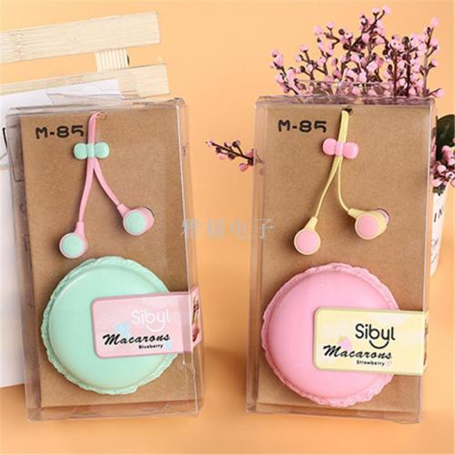Cute and sweet bowknot with macaron collection box headphones.