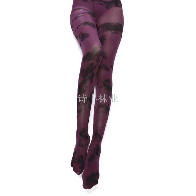 Fashionable tie-dyed splash ink pantyhose Chinese style bottom trousers silk stockings.
