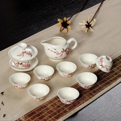 Blue and white 10 jade porcelain set of Kung Fu Dehua ceramic tea set of white porcelain tea holy