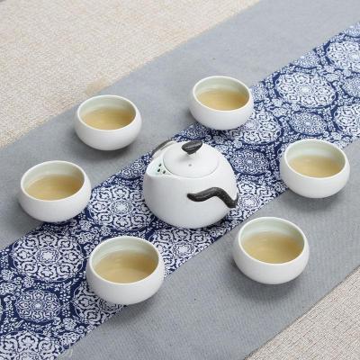 Snowflake glaze special tea set 7 snowflake Dehua ceramics whole set of kung fu tea hand holding pot gift