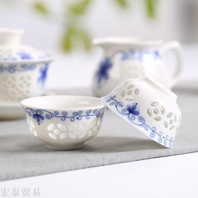 10 sets of exquisite hollow kung fu tea set set of blue and white cups gift company Dehua ceramic custom