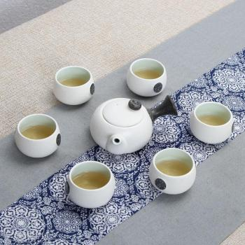 Snowflake glaze special tea set 7 snowflake Dehua ceramics whole set of kung fu tea hand holding pot gift