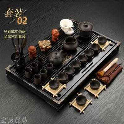 Tea sets set Zisha teapot tea cups into the tea tray solid wood whole set of Kung Fu tea creative gifts