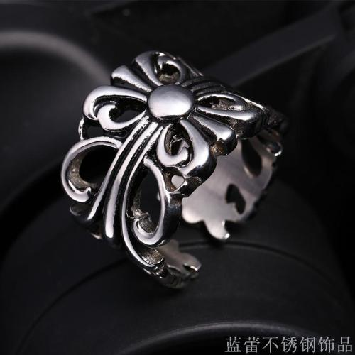 Titanium Steel Crocket Punk Ring Men's Europe and the United States retro ring 316L ring