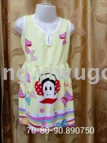 Children 's cotton silk pajamas summer girls sleeveless dress skirt belt dress home service spot