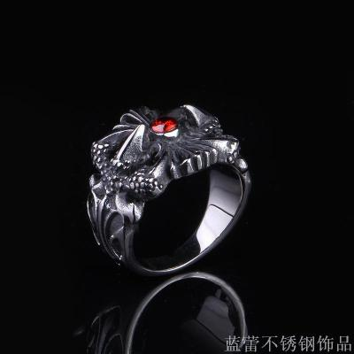 Domineering retro ring inlaid red gem tide men jewelry titanium steel ring men ring